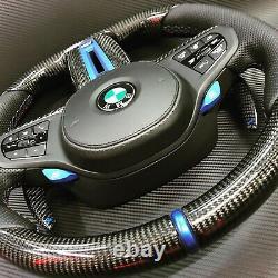 BMW 2020 M Performance G05 G06 G01 G02 Carbon Fiber Blue Design Steering Wheel