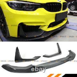 For 15-19 Bmw F80 M3 F82 M4 Psm Style Carbon Fiber Front Bumper Lip + Splitters
