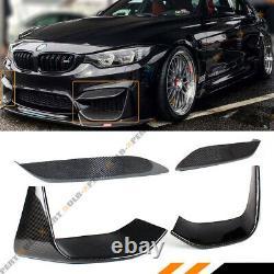 For 15-19 Bmw M3 M4 Carbon Fiber Bumper Upper Vent Cover+ Lower Add-on Splitters