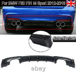 For Bmw 3 Series F30 Msport Performance Quad Rear Diffuser Splitter Carbon Style