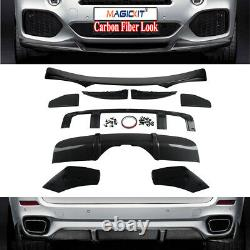 For Bmw X5 F15 M Performance Kit Front Splitter Lip & Rear Diffuser Carbon Look